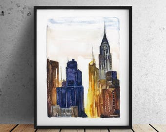 INSTANT DOWNLOAD / City print Big sizes New York print / New York City print / New York Skyline / Chrysler Building / New York watercolor
