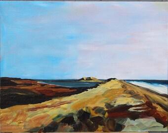 Dawn Light at the Inlet. Original Acrylic Painting, 11x14.