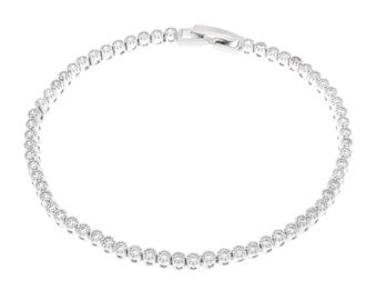 925 Solid Sterling Silver Classic Tennis Bracelet Clear Cubic Zirconia Diamond