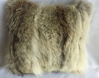 Coyote fur cushion