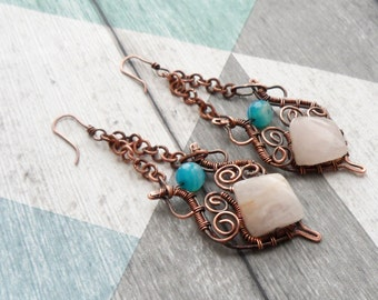 Boho chandelier earrings. Long wire wrapped copper earrings with rose quartz and blue agate. Natural stones and antique design. Artisan ooak