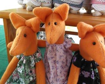 15 inch orange fleece lady fox