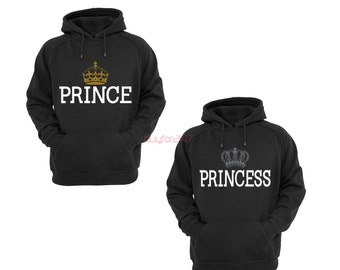 Prince Princess Hoodies King Queen Raglan Hoodies Couple Hoodies pärchen pullover Couple Sweatshirts Hooded Gift For Couples Black