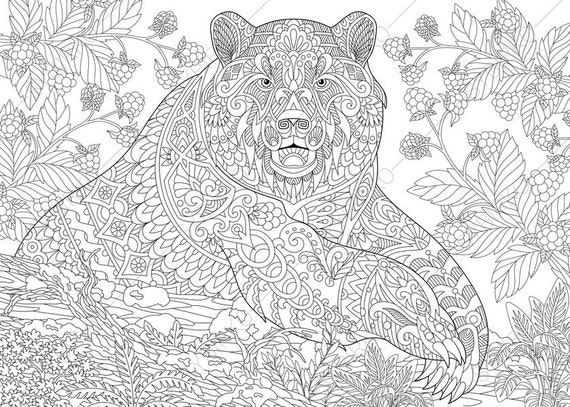 Adult Coloring Pages  Grizzly Bear  Zentangle Doodle Coloring