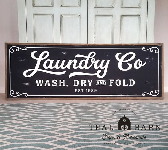 Laundry And Co Sign New Laundry Co Wash Dry And Fold Personalized Sign Farmhouse Inspiration Design