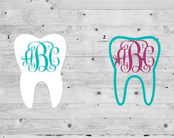 Dental Hygiene Decal | Tooth Monogram Decal | Custom Monogram |  Monogram Vinyl Decal | Interlocking Monogram | | Vinyl Monogram