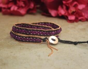 Purple Leather Natural Stone Bracelet