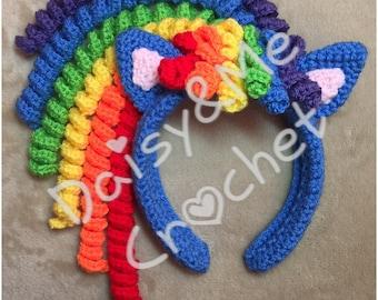 Rainbow Pony Crocheted Headband