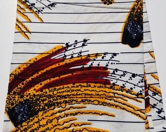 White and Yellow African Fabric; Ankara Fabric; African Clothing; African Fabric in yard; African Headwrap;Ankara Fabric