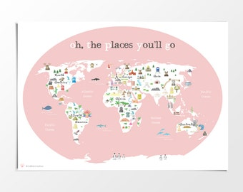 Printable kids green world map poster 11x14 in 20x16in printable kids pink world map poster 11x14 in 20x16 in 24x36 in nursery gumiabroncs Images