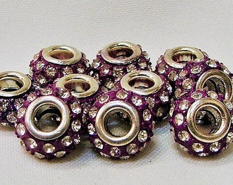 Large Hole Beads set of 10 in Purple