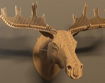 Elk head 3D puzzle-animals ,CNC ,decoration ,decorative ,sculpture Moose ,head ,interior,souvenir , toy ,trophy ,wall ,wood, wooden,dxf
