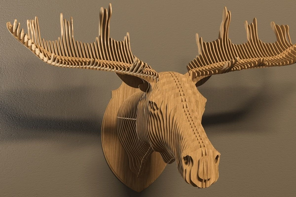 elk head 3d puzzle animals cnc decoration decorative. Black Bedroom Furniture Sets. Home Design Ideas