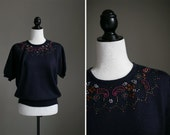 Navy Short Sleeved Sweater with Paisley Beading