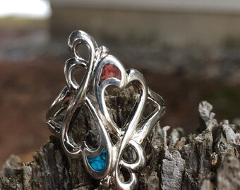 Vintage Silver Heart Turquoise Ring