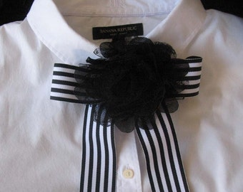 Black & White Ribbon Stripe with Flower