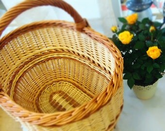 Oval Basket, Gift For Mom, Market Basket, Gift For Her, Oval Wicker Basket, Willow Basket, French Basket, Wicker Basket, Handwoven Basket