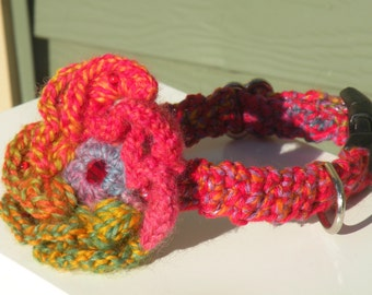 Beaded Flower with Crystal Center Crochet Dog Collar Size Small