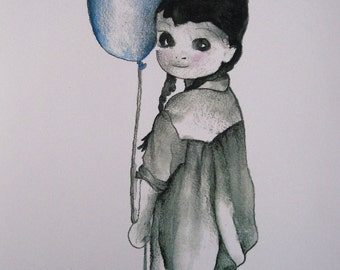 Lola and the blue balloon portrait in watercolor, handmade, illustration, graphic design
