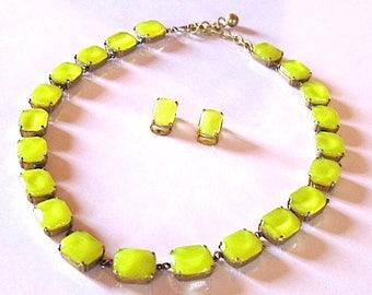 Vintage art deco set yellow lemon satin moonstone glass jewelry