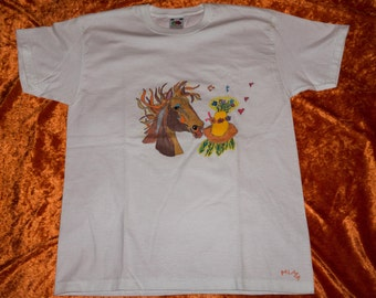 Kids T-Shirt 9 / 11, ground hand-drawn, horse, animal head