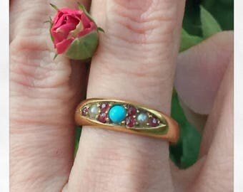 Antique Victorian 18k Gold, Turquoise and Ruby Stacking Ring