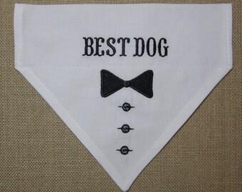 Best Dog Slip on bandana/Dog Groomsmen white with black tie dog bandana/Wedding bandana for Dog/Black tie dog neckwear/Wedding dog scarf