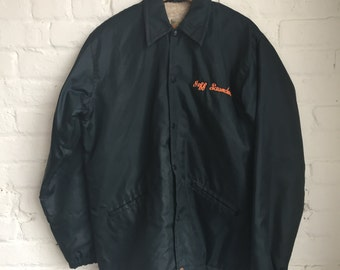 Vintage West Wind Fleece Lined Button-Snap Satin Wrestling Jacket / Size Large / Made in USA / Tackle-Twill / 70s 1970s