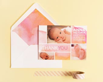 Birth Announcement | Baby Thank you | New Baby | Watercolour Baby Cards