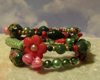 Funky Flowers wrap bracelet