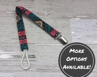Pacifier Clip | Aztec Print | Protects Pacifier From Falling | Binki | Soothie | Nuk | Paci | Baby Girl