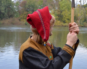 Viking RUS Hat red wool hand-sewn and embroidered for medieval reenactment / LARP