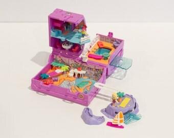 99% Complete - 1996 - Vintage Polly Pocket - Surf 'n Swim Island - Vacation Fun (Bluebird Toys)