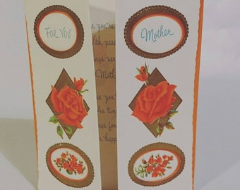c1950s 60s Norcross vintage Mothers Day card orange roses with centre opening - send greetings card or collectable scrapbooking papercrafts