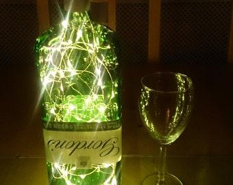 Gordons Gin Bottle Light. Upcycled Bottle Lamp. Perfect Mood Lighting Gift For Women & Boyfriend Gift For Men. Upcycled Lighting