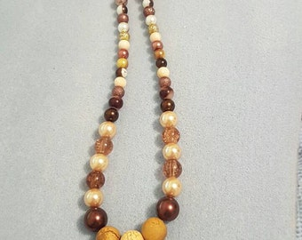 Brown and copper beaded necklace