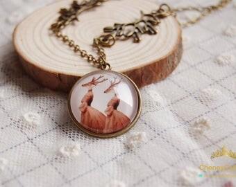 Deer necklace,deer jewelry, animal necklace, Retro Necklace,Brown Retro Necklace,Forest jewelry,Vintage necklace,Woodland jewelry