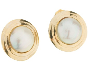 Gorgeous 14K Yellow Gold & Lustrous Mabe Pearls Ladies Clip On Earrings