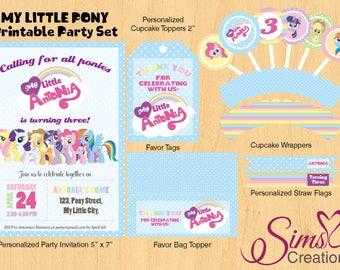 My Little Pony Pastel Rainbow Birthday Party Printable, My Little Pony Birthday Invitation, Pastel Rainbow Party, My Little Pony Printable