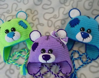 Free shipping Hat for child Teddy Bear