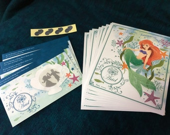 Disney Mermaid Ariel Stationery Set with Window Envelopes