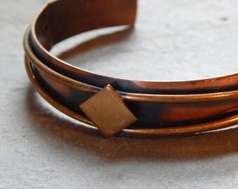Vintage Copper and Brass Cuff Bracelet, mixed metal cuff, solid copper cuff, geometric cuff bracelet, diamond shape cuff bracelet