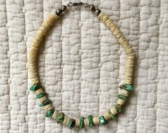 Vintage Native American Turquoise and Shell Heishi Choker Necklace ** FREE SHIPPING **