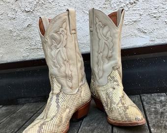 Vintage Ladies Size 7 Dan Post Snakeskin Cowboy Boots