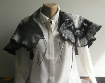 Hand Made black and white Wool Scarf (includes margilanse silk)