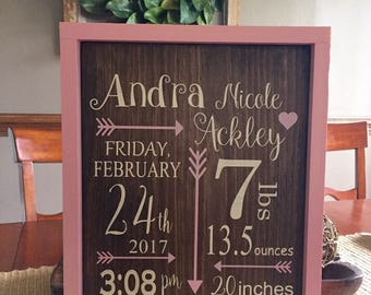 Personalized birth announcement framed wooden sign