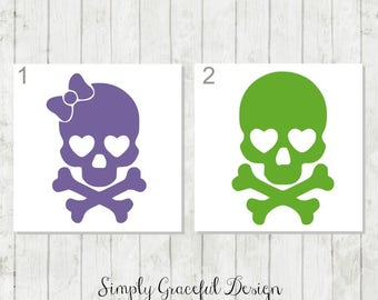 Skull Decal - Girly Skull Decal - Skull Car Decal - Skull and Crossbones Decal - Skull Sticker - Skull and Crossbones Laptop Decal - Skull