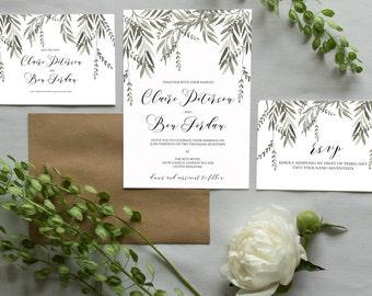 Digital Printable Wedding Invitation set | Botanical Wedding Invitation | Greenery Wedding Invites | Modern Botanical Wedding Invitation