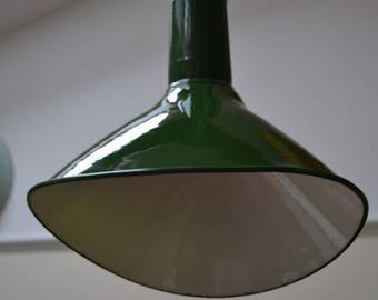 Three Vintage Benjamin Elliptical Enamel Pendant Lights
