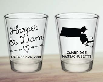 Custom Massachusetts Wedding Favor Shot Glasses